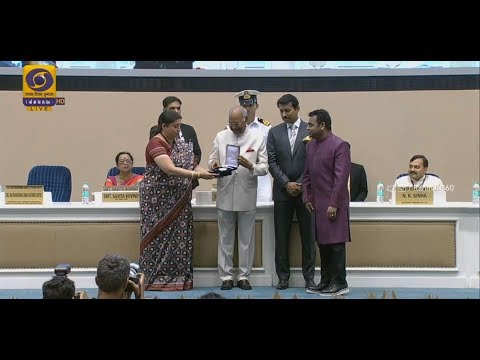 A.R. Rahman receiving the National Film Award for Best Background Score and Best Music Direction