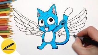 Рисуем Кота Хэппи из аниме Хвост Феи | Как нарисовать Хеппи (высший)