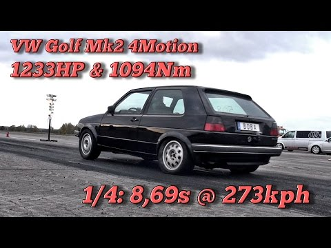 VW Golf Mk2 4Motion 1233HP 8,69s @ 273kph In Finsterwalde 2016