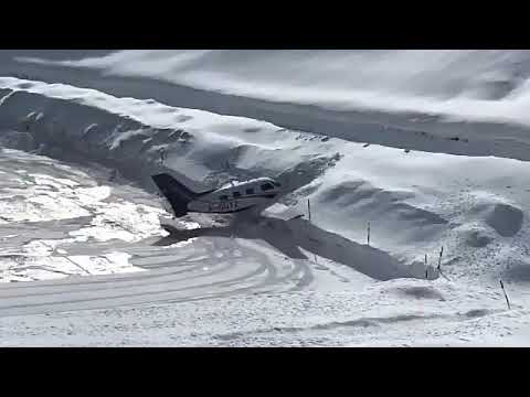 Wingnut - Small Plane Crashes Into The Snow At The End Of The Runway