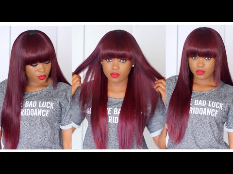 Cherry Plum Full Bang Wig Hairstyle