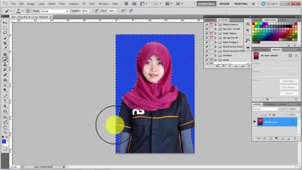 2 cara mengganti warna background pas foto di photoshop ...