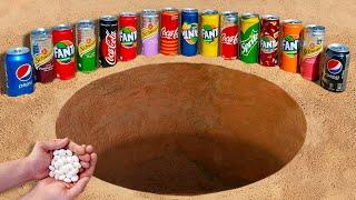Experiment: Fanta, Coca Cola, Schweppes, Pepsi and Sprite vs Mentos Underground