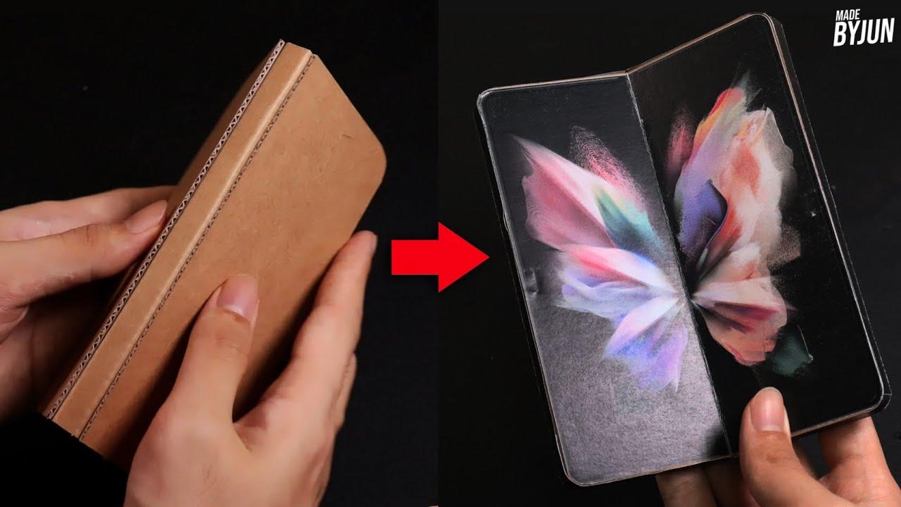 박스로 갤럭시 Z 폴드3 만들기 (박스 에디션)   실제로 접히고 펴진다!