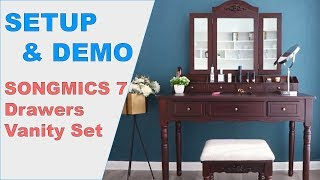 ➡️ SONGMICS 7 Drawers Vanity Set ✅ Setup & Demo