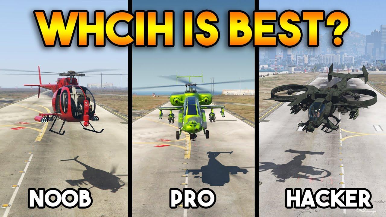 GTA 5 : NOOB VS PRO VS HACKER HELICOPTER (WHICH IS BEST?)