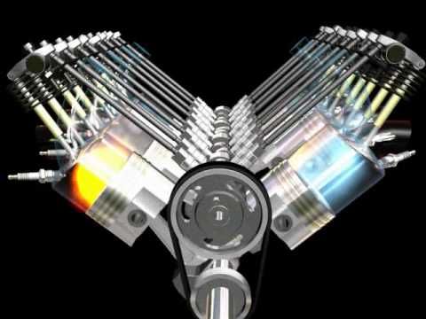 V8 Engine Motion Animation ( 3ds max ) - YouTube: engine moving diagram at sanghur.org