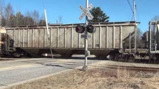 HD Pan Am Trains RUPO & PORU @ Hackett Road in Auburn Maine - 4/8/2013