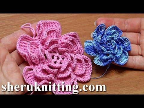 Crochet fluffy flower tutorial 4 part 1 of 2 como hacer - Hacer flores de ganchillo ...
