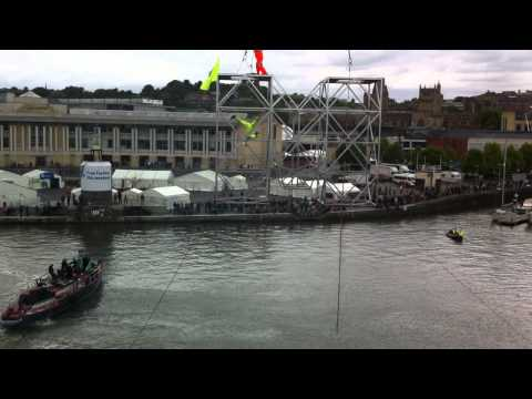 High dive into Bristol docks from crane for M Shed opening