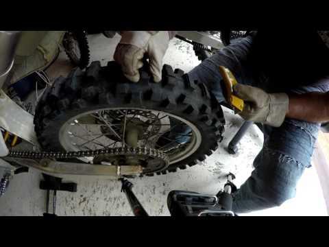 Cutting dirtbike tyres