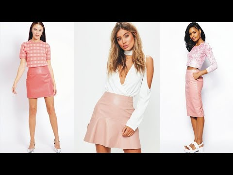 Chic Pink Leather Skirt River Island