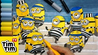 How to draw Minions in Prison from Despicable Me 3 | Easy step by step for kids | Coloring Pages