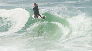 Blair Conklin skimboarding BIG waves at Aliso - July 2018