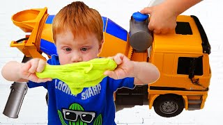 Makar and Toy Truck Slime Challenge