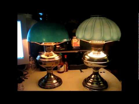 Aladdin No. 11 U0026 Rayo Kerosene Center Draft Lamps   YouTube