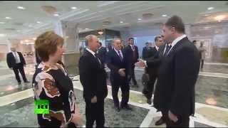 Рукопожатие Порошенко и Путина. Эмоция Порошенко 80 LVL достойна восхищения