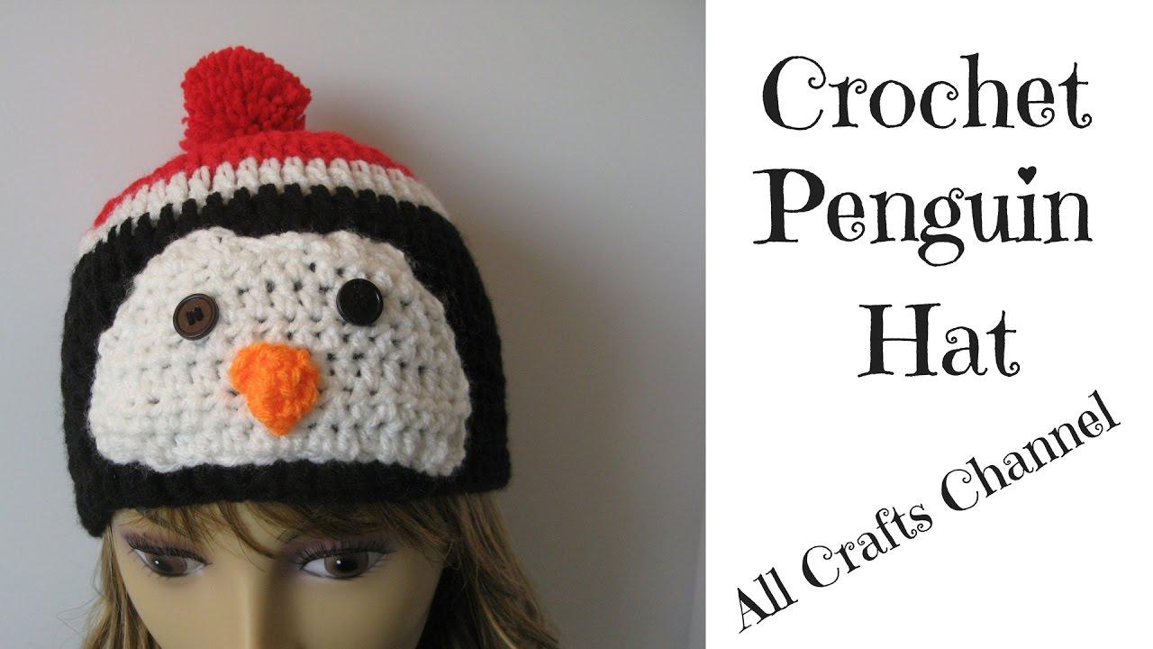 e1e0ed7fc6c Crochet Penguin wearing beanie hat - YouTube