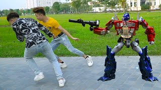 Transformers Optimus Prime vs Megatron Stop motion! Decepticon, Autobots Robot in real life!