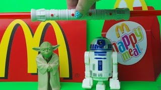 First 3 STAR WARS McDonalds Kids Happy Meal Toys Inc  Yoda, R2-D2 and Lightsaber