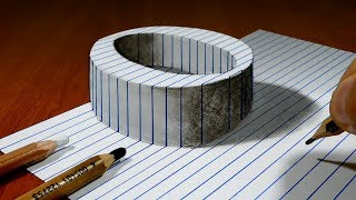 Draw a Letter O on Line Paper   3D Trick Art