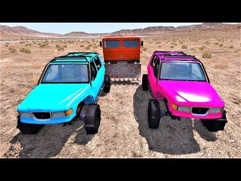 Машины монстры преследуют цветные джипы в пустыне - Бимка погони