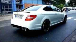 Mercedes C63 AMG Coupe white - Walkaround and Sound