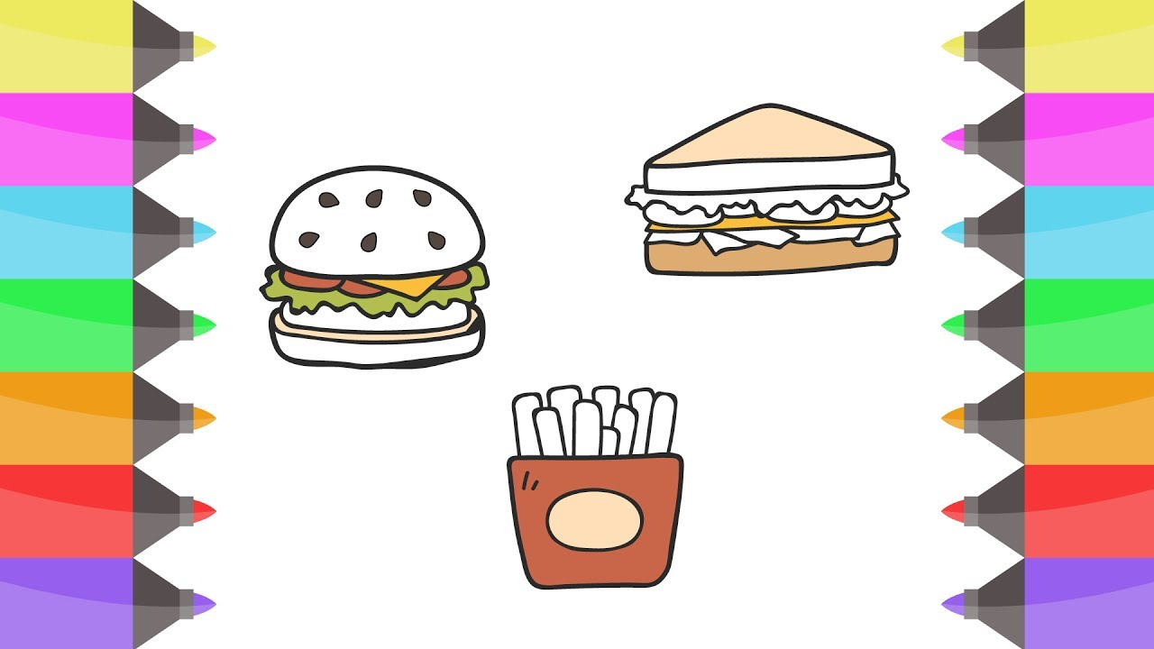 coloring pages hamburger mcdonald u0026 colours for kids l how to