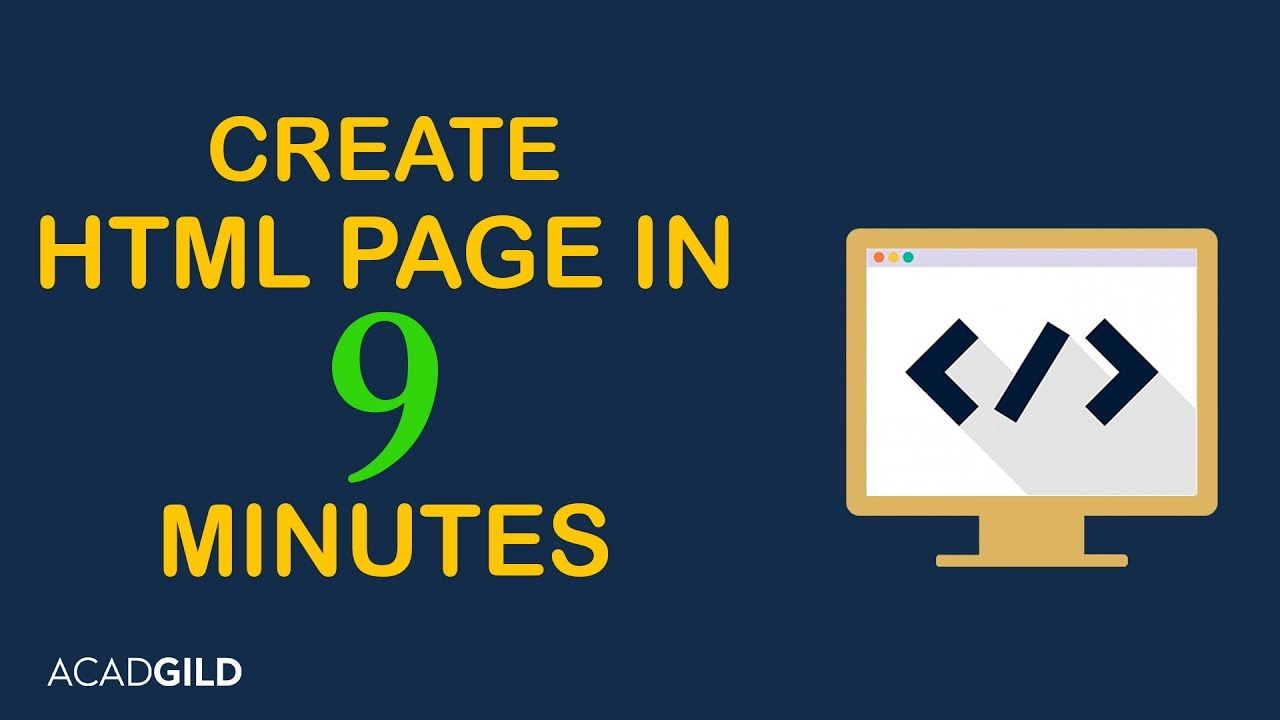 How To Create A Html Page