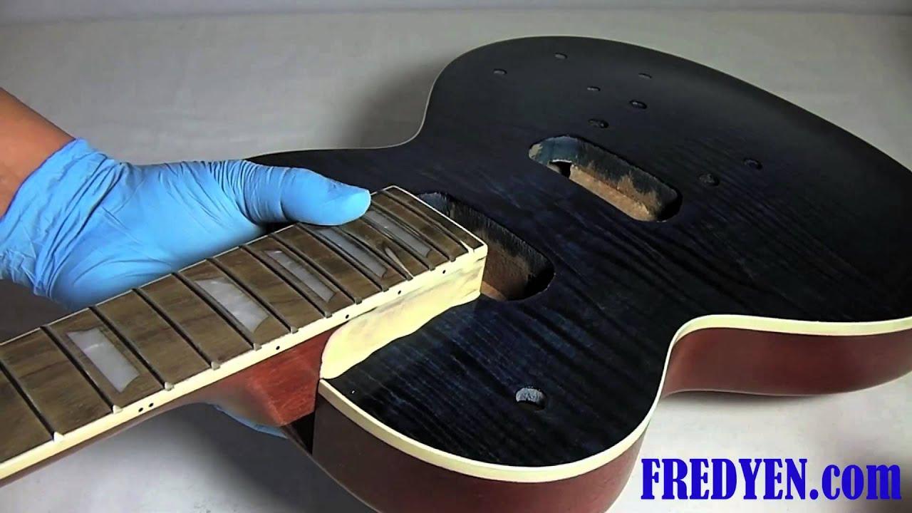 Diy Les Paul Guitar Kit Part 4 Gluing Set In Neck Youtube
