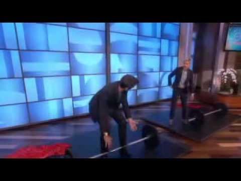 Who lifts more? Hugh Jackman or Ellen on Ellen