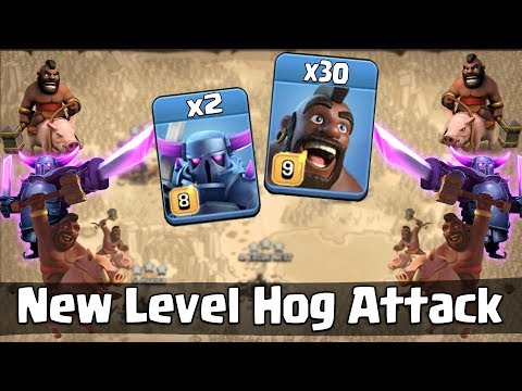 New Level Hog Attack 2019! Max 30 Hog Max 2 Pekka With Queen Walk Smashing TH12 War Base ( Updated)