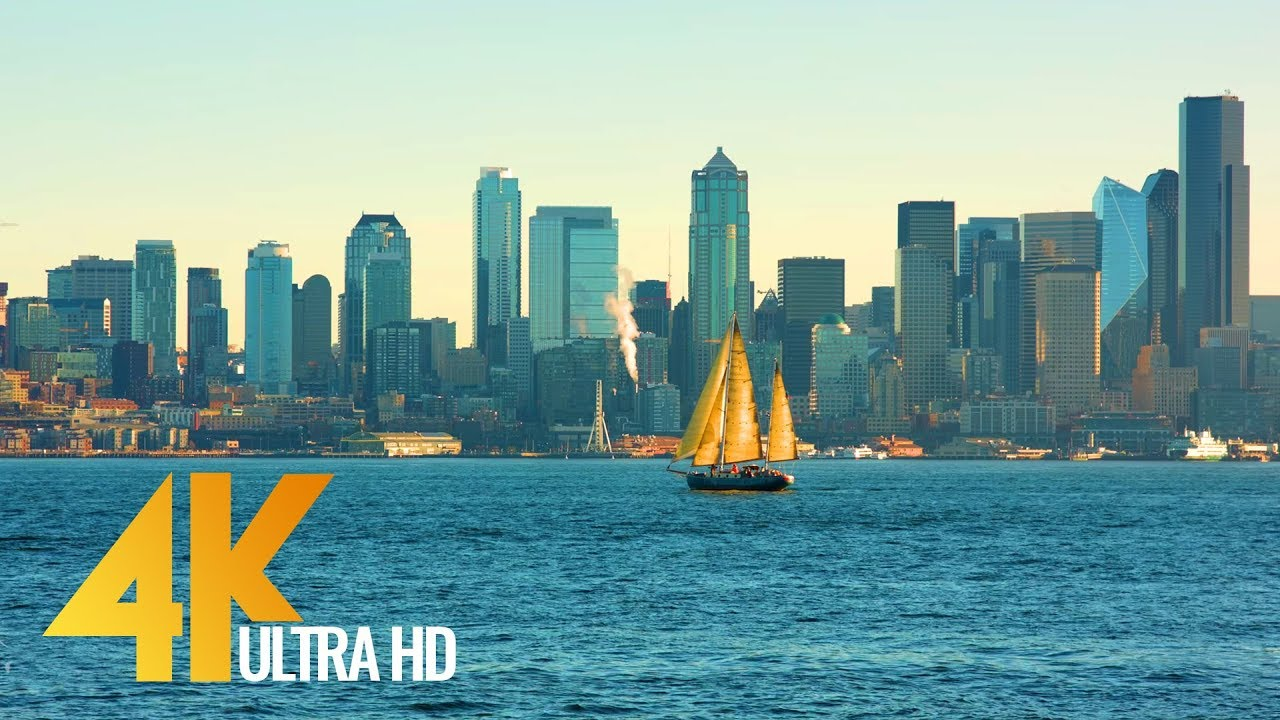 4K (Ultra HD) Seattle Relax Video - View from Don Armeni Boat Ramp - 2.5 Hours Video