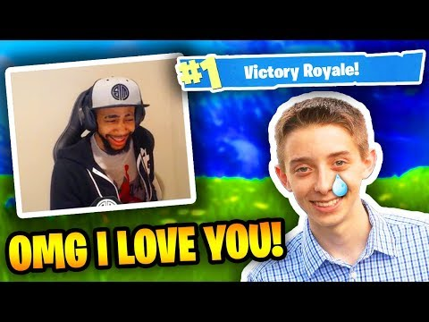 Daequan Plays With 14 Year Old Fan! (HE CRIES) | Fortnite Battle Royale