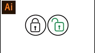 Draw a Lock icons in Adobe illustrator CC 2017