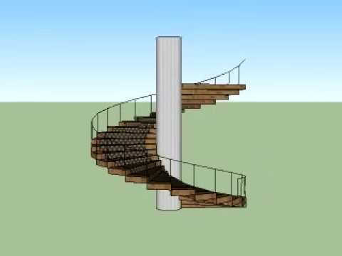 Escalera caracol sketchup youtube for Escaleras caracol sodimac
