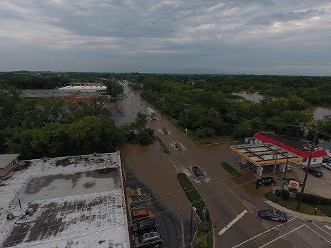 Flooding in Grayslake Drone Video of Jones Island and Cars in Flood Water