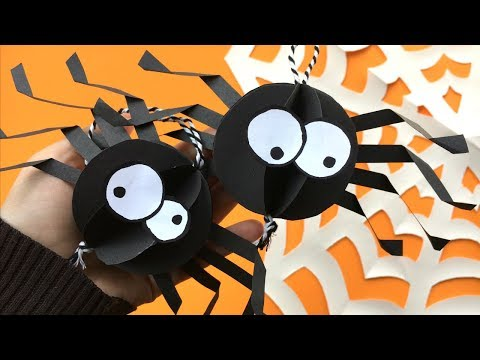 Easy Paper Spider DIY Decor - Halloween Room Decor DIY - collab with Jenny The Origami Tree