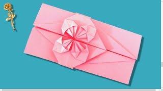Origami : 💌 Enveloppe avec cœur   ❤️   fleuri 🌸