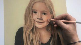 Pastel portrait drawing of girl speed timelapse - Alpha Art