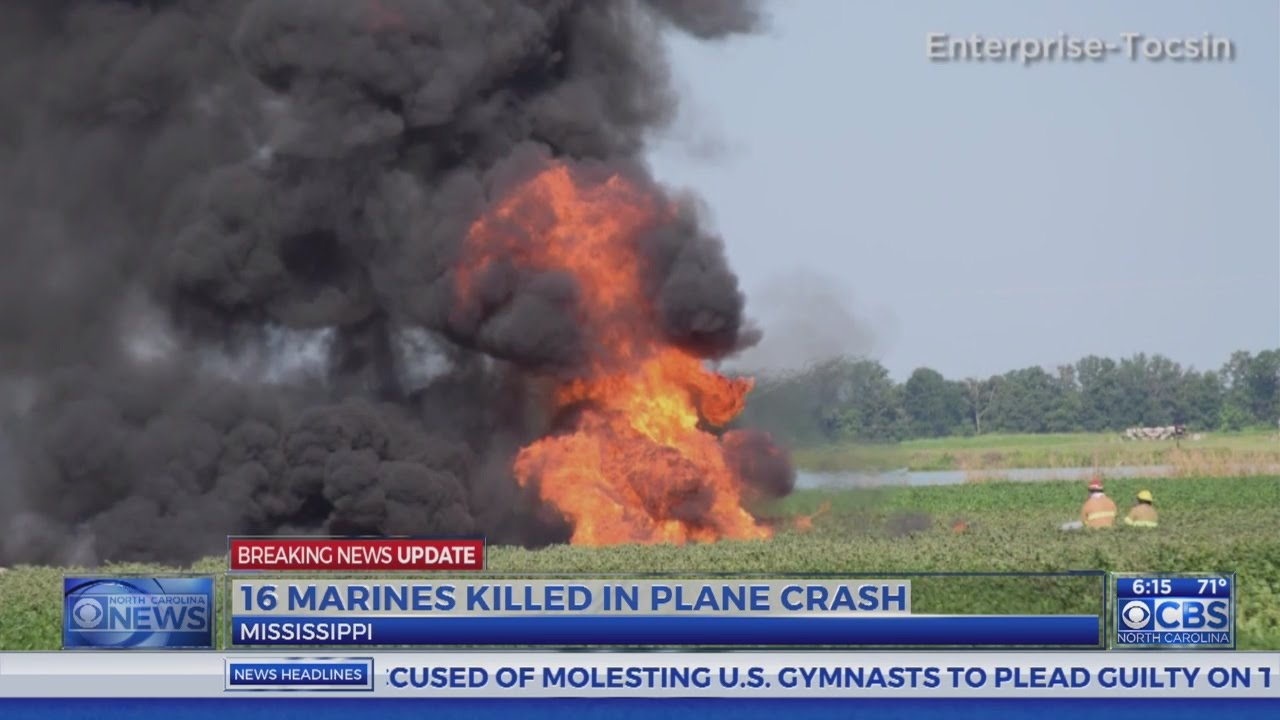 Marine Corps KC-130 crashes in Mississippi, 16 dead