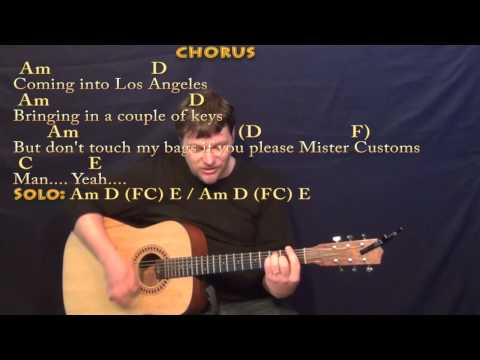 Coming into Los Angeles (Arlo Guthrie) Strum Guitar Cover Lesson with Chords/Lyrics