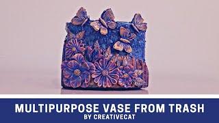 Multipurpose Vase From Trash /Basic Mural art on Bottle/Bottle Art