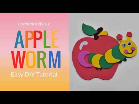 Easy DIY for kids / Kids Crafts /Foam Apple Worm/ Apple Worm DIY