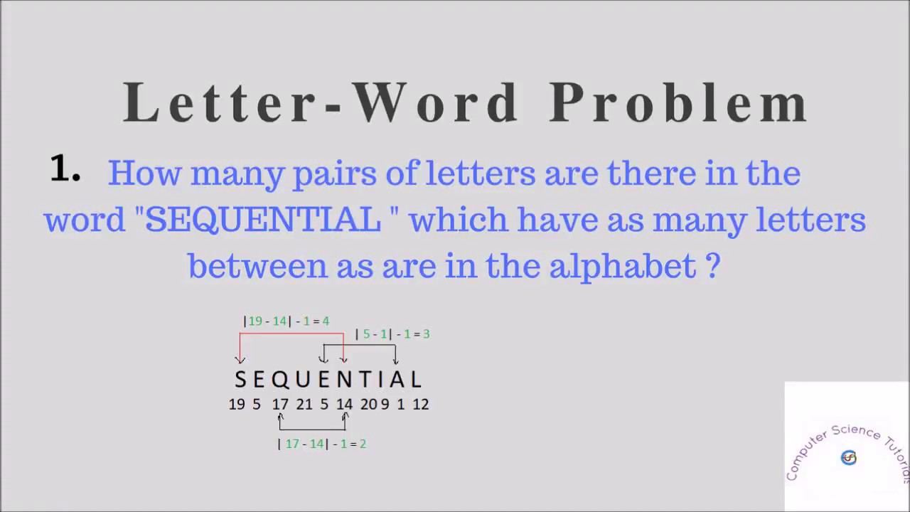 Letter Word Problem 1 | How many pairs of letters are there in the word