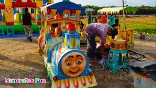 naik kereta api big thomas & friends odong odong robo robot bersama teman di pasar rakyat