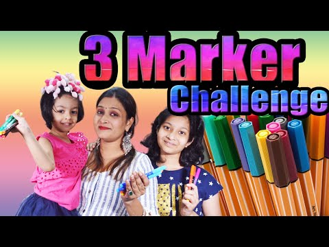 Three Marker Challenge | Blindfold Challenge | Cute Sisters