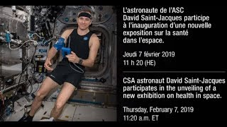 LIVE – David Saint-Jacques participates in the unveiling of a new exhibition