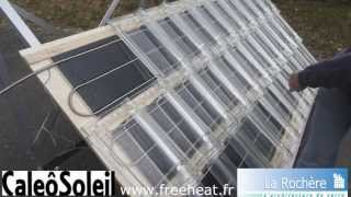 Tuile solaire thermique CaleoSoleil, panneau solaire en tuiles de verre, chauffage solaire invisible
