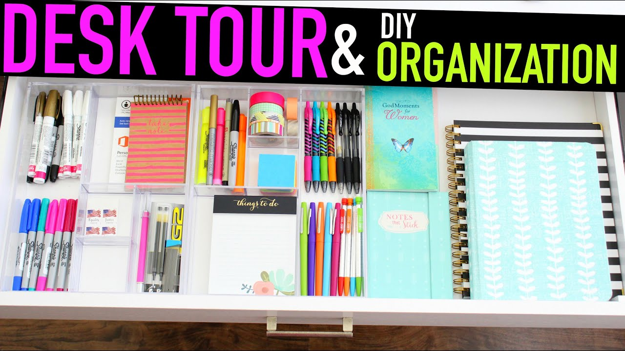 Delightful Diy Organization Part - 5: Desk Tour + DIY Organization - YouTube
